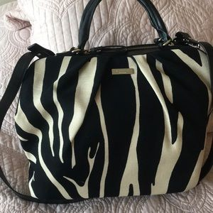 Kate Spade linen Satchel with black leather trim